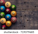 colorful vintage christmas... | Shutterstock . vector #719379685