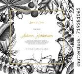 vintage card design with bird.... | Shutterstock . vector #719381065
