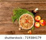top view of a dish of... | Shutterstock . vector #719384179