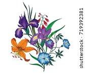 vector bouquet of  garden... | Shutterstock .eps vector #719392381