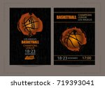 design for basketball on a... | Shutterstock .eps vector #719393041