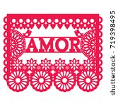 mexican papel picado design  ... | Shutterstock .eps vector #719398495