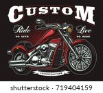 vintage motorcycle. all...   Shutterstock .eps vector #719404159