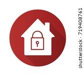 locked house flat design long... | Shutterstock .eps vector #719408761