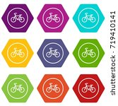 sign bike icon set many color...   Shutterstock .eps vector #719410141