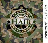 hair on camo texture   Shutterstock .eps vector #719412775