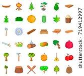 Wood Icons Set. Cartoon Style...