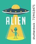 alien and ufo illustration   Shutterstock .eps vector #719413471