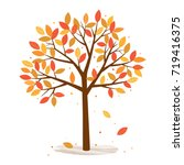 autumn tree with falling leaves ... | Shutterstock .eps vector #719416375