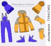 winter wear illustration set.... | Shutterstock .eps vector #719417401