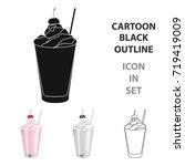 milkshake with cherry on the... | Shutterstock .eps vector #719419009