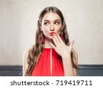 beautiful surprised fashion... | Shutterstock . vector #719419711