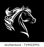 Stock vector horse profile design white head against black background vector illustration 719422951