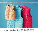 family concept of down vest... | Shutterstock . vector #719425375