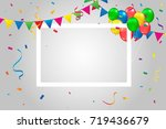 colorful party flags with... | Shutterstock .eps vector #719436679