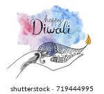vector diwali hand drawn... | Shutterstock .eps vector #719444995