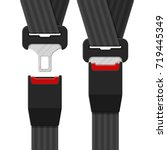 open and closed safety belt.... | Shutterstock .eps vector #719445349