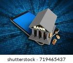 3d illustration of mobile phone ... | Shutterstock . vector #719465437
