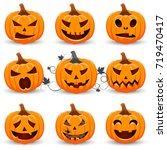 set pumpkin on white background.... | Shutterstock .eps vector #719470417