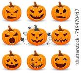 set pumpkin on white background.... | Shutterstock .eps vector #719470417