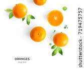 creative layout made of orange... | Shutterstock . vector #719475757
