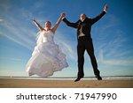 Wedding happy jump - stock photo