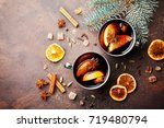 two cups of christmas mulled... | Shutterstock . vector #719480794