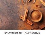 heap of cinnamon sticks and...   Shutterstock . vector #719480821