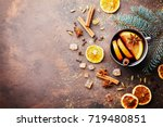 christmas mulled wine or... | Shutterstock . vector #719480851