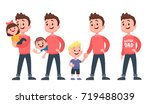 father with childrens. dad with ... | Shutterstock .eps vector #719488039