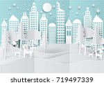winter holiday snow in city... | Shutterstock .eps vector #719497339
