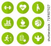 set of 9 bodybuilding icons set.... | Shutterstock .eps vector #719507527