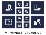 Set Of 12 Estate Icons Set...
