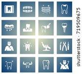 set of 16 dentist icons set... | Shutterstock .eps vector #719509675