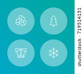 set of 4 natural outline icons... | Shutterstock .eps vector #719514151
