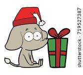 cartoon unsure elephant sat on... | Shutterstock .eps vector #719527387