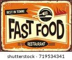 fast food restaurant vintage... | Shutterstock .eps vector #719534341