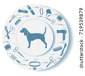 decorative plate with dog... | Shutterstock .eps vector #719539879