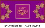 happy diwali festival card with ... | Shutterstock .eps vector #719540245