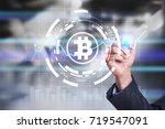 cryptocurrency graph on virtual ... | Shutterstock . vector #719547091