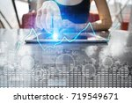 data analysis graph on virtual... | Shutterstock . vector #719549671