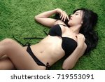 asian sexy lady with big breast ... | Shutterstock . vector #719553091