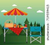 summer picnic outdoor | Shutterstock .eps vector #719559415