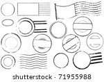a set of blank postal marks and ...   Shutterstock . vector #71955988