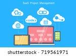 saas project management banner. ... | Shutterstock .eps vector #719561971