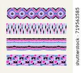 set of ethnic art brushes in... | Shutterstock .eps vector #719563585