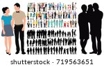 people collection  isometric... | Shutterstock .eps vector #719563651