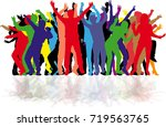 dancing people silhouettes.... | Shutterstock .eps vector #719563765