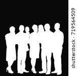 white silhouette people | Shutterstock .eps vector #719564509