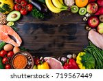 selection of healthy food.... | Shutterstock . vector #719567449